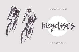 Set of hand drawn bicyclists