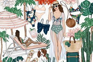 Palm Springs Vacay Fashion Clip Art