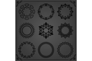 Vintage Set of Vector Round Elements