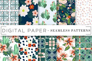 Florals and Tiles Seamless Patterns