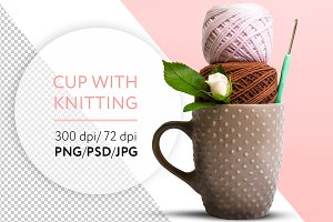 Cup with knitting. PNG. PSD. JPG