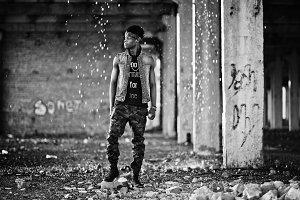 Black afroamerican man gangsta rap s