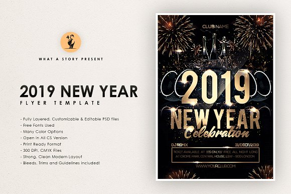 2019 new year flyers
