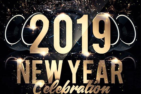 2019 new year flyer templates creative market