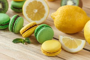 Green and yellow French macarons
