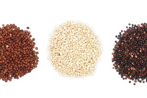 Black red white quinoa and chia seeds isolated on white background. Top view