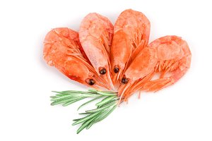 Red cooked prawn or shrimp with rosemary isolated on white background