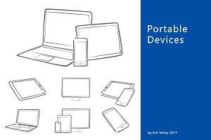 Hand drawn digital devices in grey