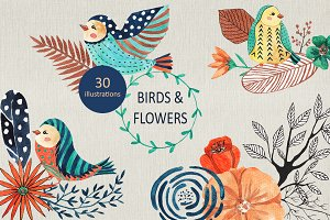 Birds & flowers design set
