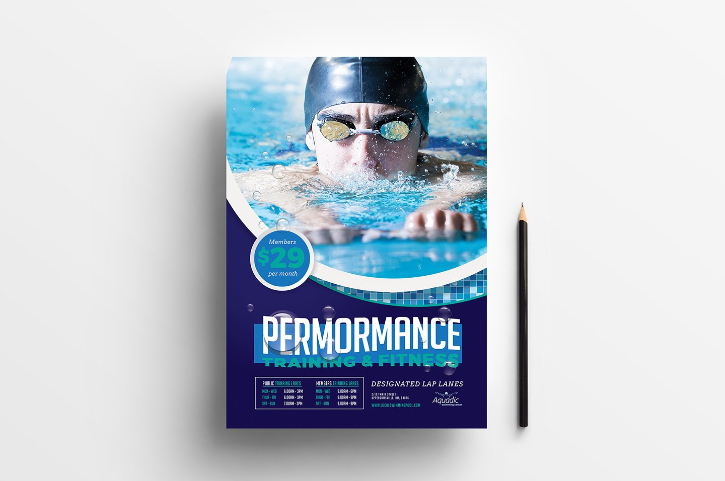 A4 swimming pool poster template flyer templates for Pool design templates