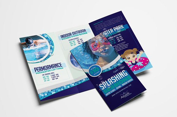 swimming pool trifold brochure brochure templates creative market