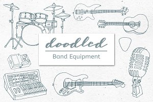 Doodled Rock Band Equipment Graphics