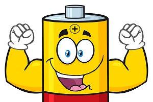 Happy Battery Character Flexing