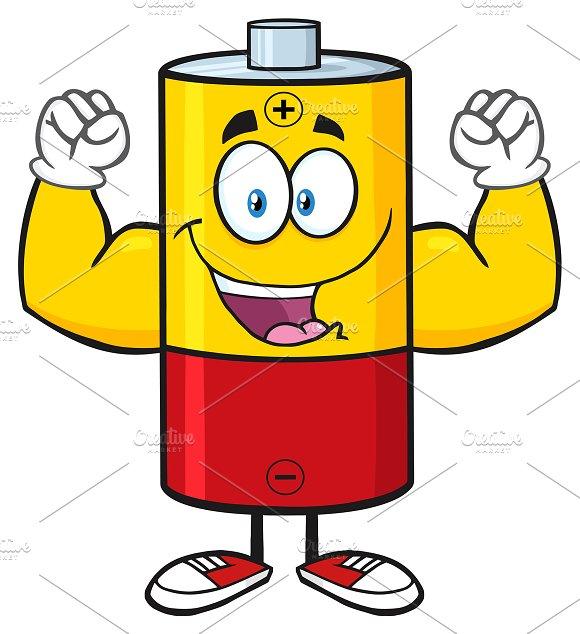 Happy Battery Character Flexing