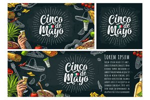 Cinco de Mayo lettering and mexican traditional food