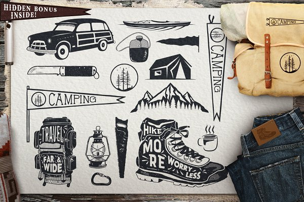 Vintage Surfing, Travel Symbols