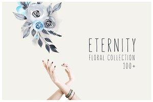 ETERNITY: navy & blue floral set