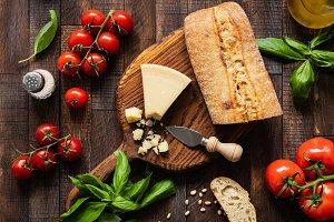 Parmesan, ciabatta, tomatoes, basil