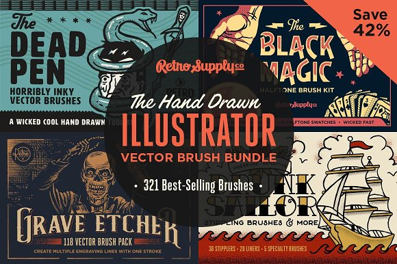 Hand Drawn Illustrator Brush Bundle