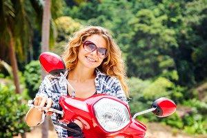Girl on motorbike