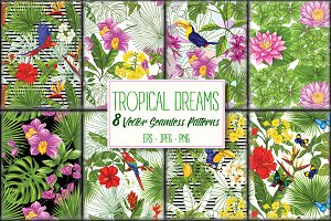 8 Tropical Dreams Seamless Patterns