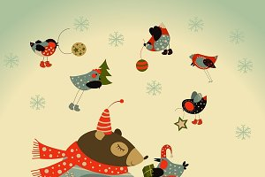 Bear and birds celebrate Christmas