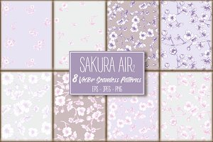 8 Sakura Air-2 Seamless Patterns