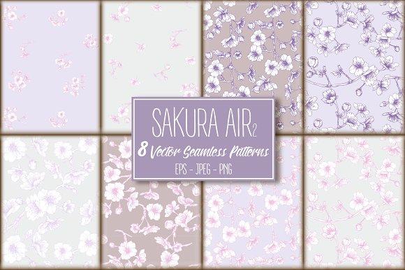 8 Sakura Air-2 Seamless Patterns