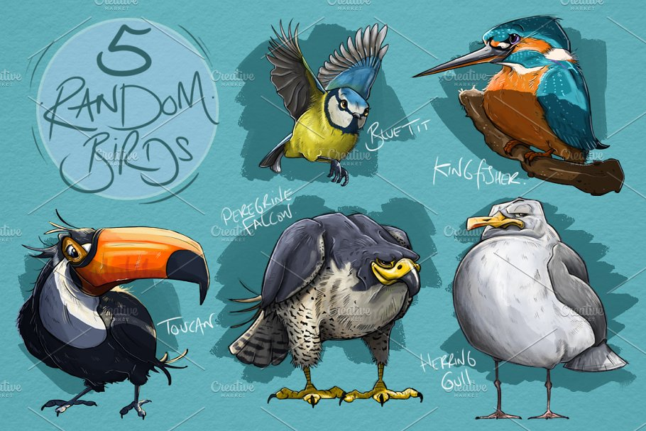 5 Random Bird Cartoons