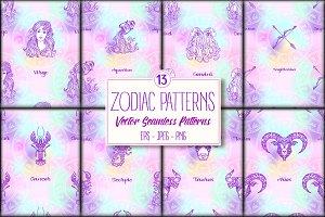 13 Zodiac Seamless Patterns
