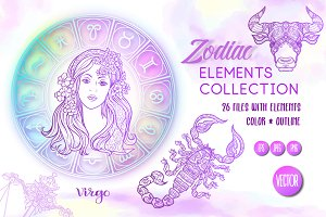 Zodiac Elements - Colored & Outline