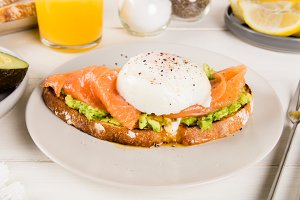 Wholemeal Bread Toast, smashed Avocado, Salmon and Poached Egg