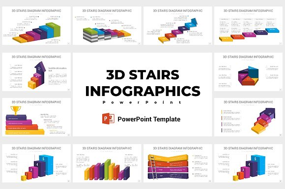 stairs diagrams powerpoint presentation templates creative market