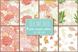 8 Sea World Seamless Patterns