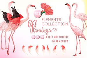 Flamingo, Flowers and Feathers Set