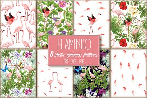 8 Flamingo SeamlessPatterns