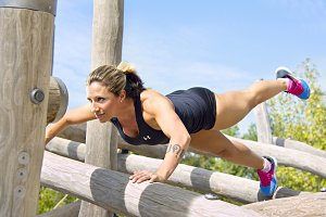 blond woman   doing training exercis