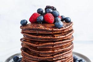 sweet American pancakes with fresh b