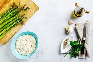 Ingredients for cooking risotto with