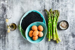 ingredients for cooking asparagus, b