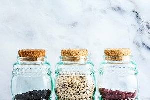 different types of legumes in glass