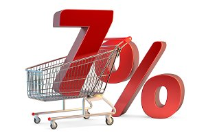 Shopping cart with 7% discount sign.