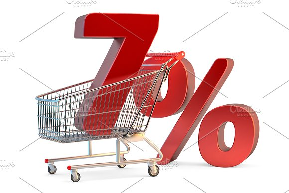 Shopping Cart With 7% Discount Sign