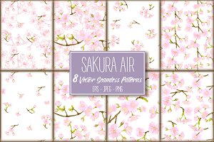 8 Sakura Air Seamless Patterns