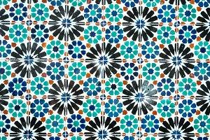 Traditional ornate portuguese decorative blue colored tiles azulejos