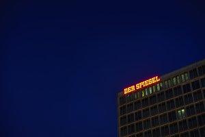 Der Spiegel, German Magazine, Headquarter Ericusspitze, SPIEGEL-Verlag Rudolf Augstein GmbH. Fluorescent at night