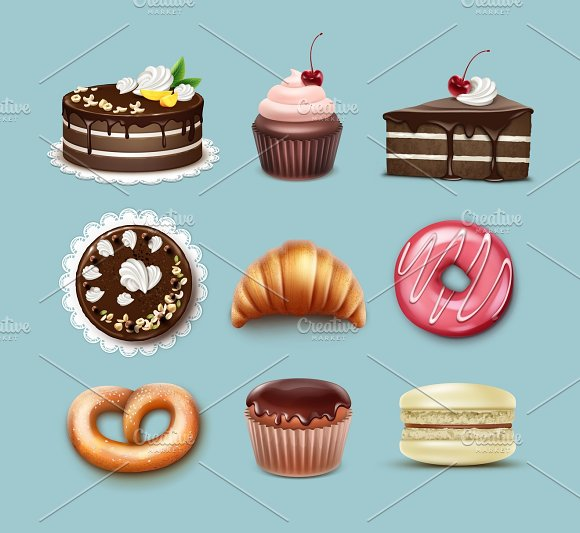 Vector confectionery set in Icons