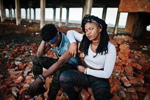 Couple of hip-hop afroamerican on un