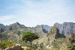 Hiking trail leading through arid rocky terrain towards Coculli village on Santo Antao Cape Verde