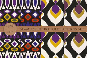 RETRO folk seamless patterns set